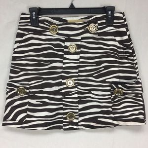 Michael Kors Brown/White Animal Print Skirt